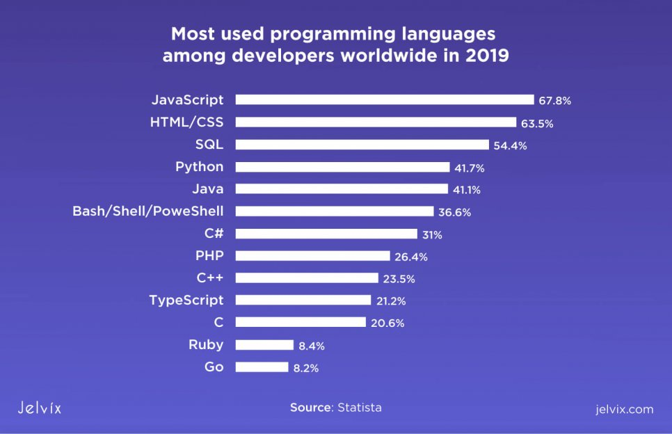 most used languages 2019